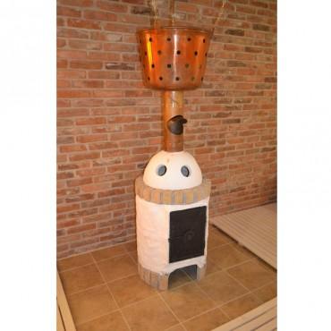 Dizajnový efekt s pieckou do lesnej sauny